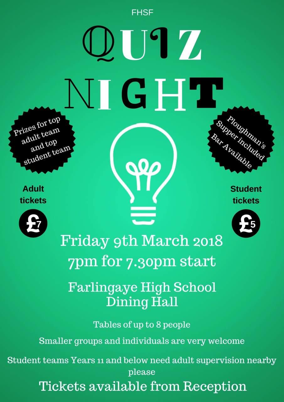 Farlingaye High School Quiz Night 9th March